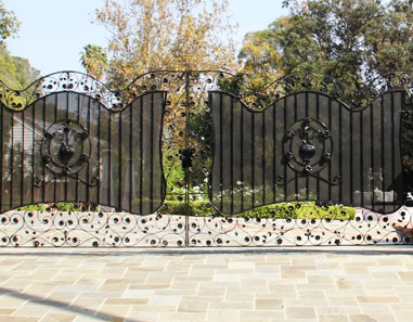 Los Angeles Automatic and Pedestrian Wrought Iron Gate Handmade Flowers