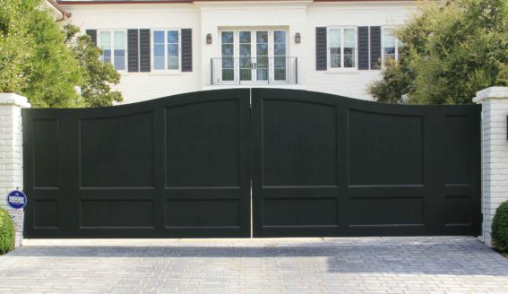 Black Wood Pedestrian & Auto Gates