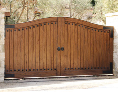 Cast Iron Accents Hardwood Single Sliding Gate