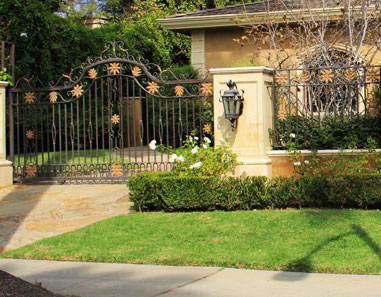 Los Angeles Traditional Wrought Iron Auto Pedestrian Gate