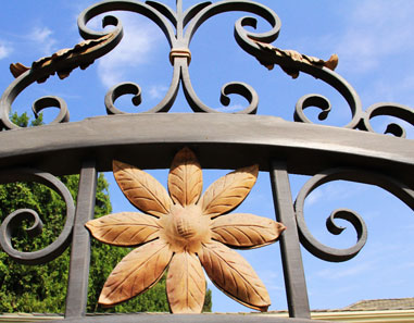 Traditional Wrought Iron Gate Gold Flower Accent