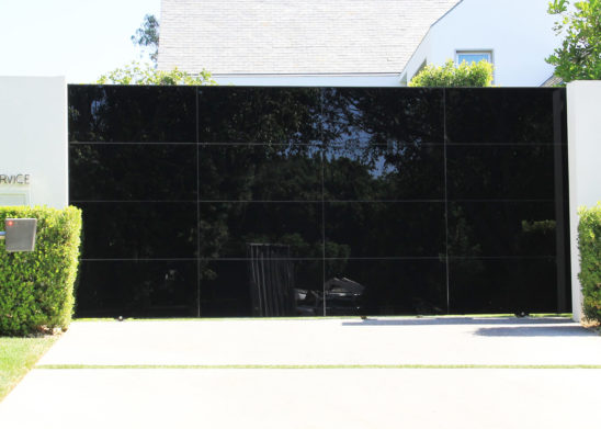 black glass ingress sliding auto gate