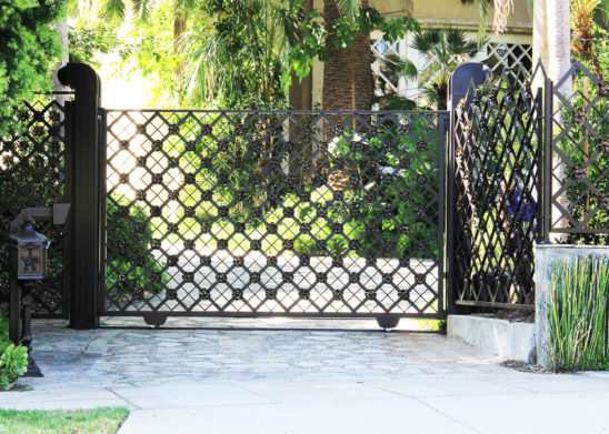 single slide hand made ornamental iron gate