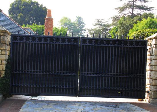 ornate iron bifold gate