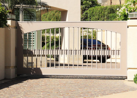 folding painted iron and sheet metal auto gate