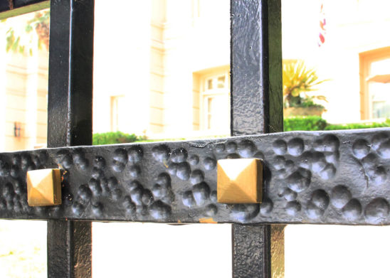 hammered steel and gold tinted medallions