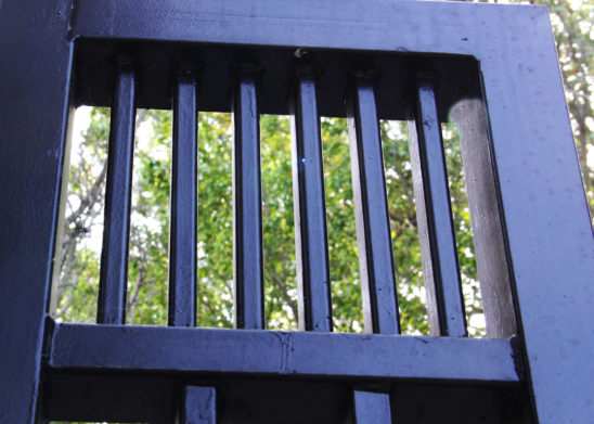 Close up view of auto steel gate