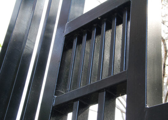 auto steel gate with detailed view