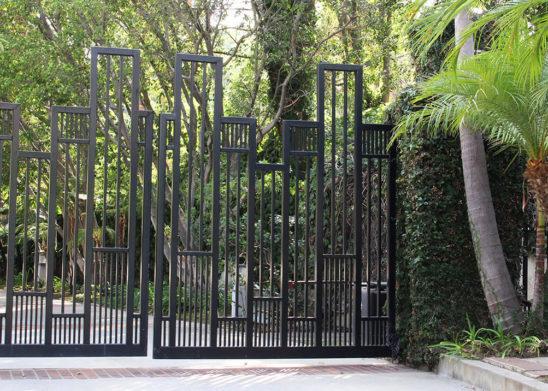 contemporary geometric design bifold auto steel gate