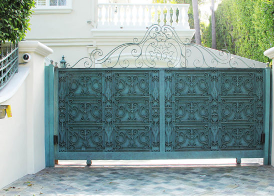 moroccan inspired steel sliding auto gate