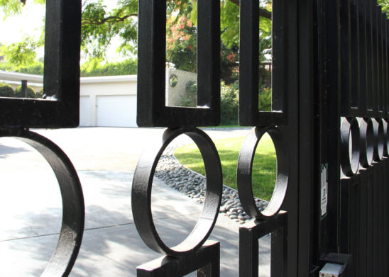 close up of custom electric steel gate and inserts