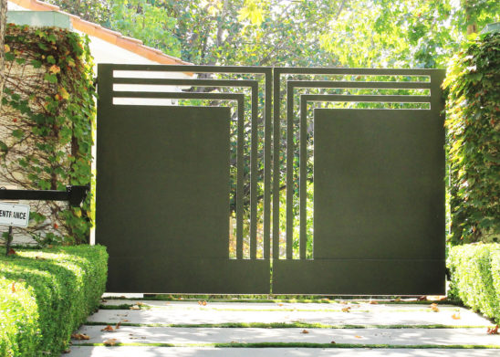 custom geometric steel bifold auto gate