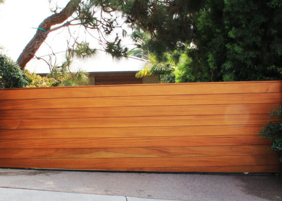 hand built exotic wood sliding auto gate