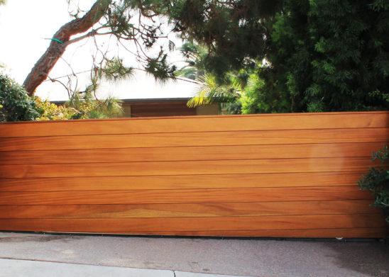 hand built exotic wood sliding auto gate