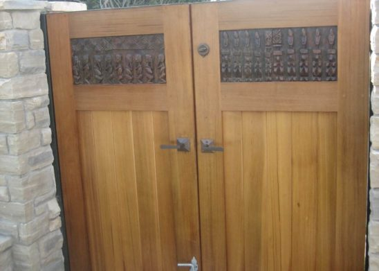 custom old world hand carved wood pedestrian gate