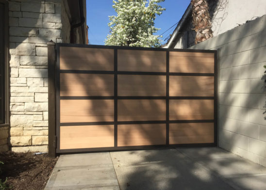 contemporary wood auto swing gate