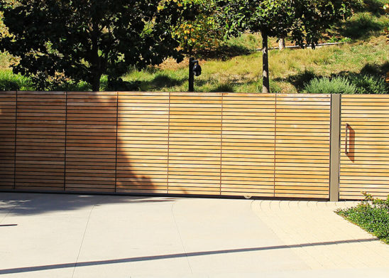 sustainable teak single slide auto and hinged pedestrian gates