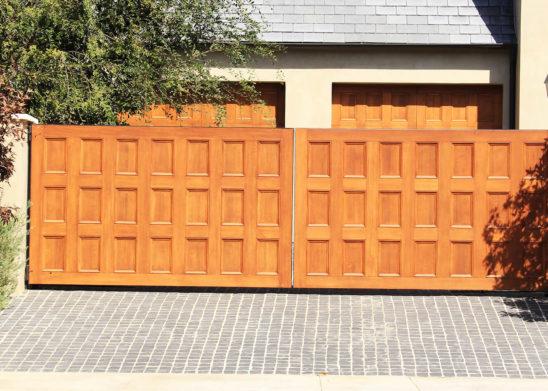 custom finished wood dual slide auto gates