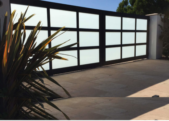 contemporary wood & glass automatic and pedestrian gates