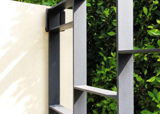 close up of custom auto steel gate