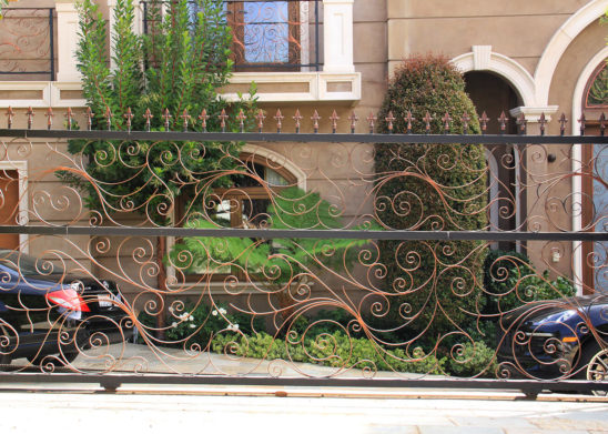 ornate hand made wrought iron sliding gate