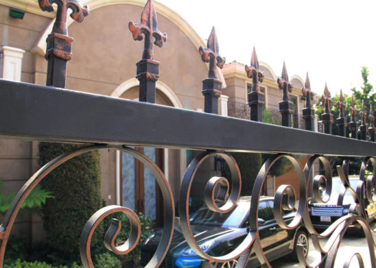 custom multi stained medallion gate toppers