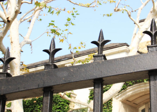 close up of fleur-de-lis gate topper