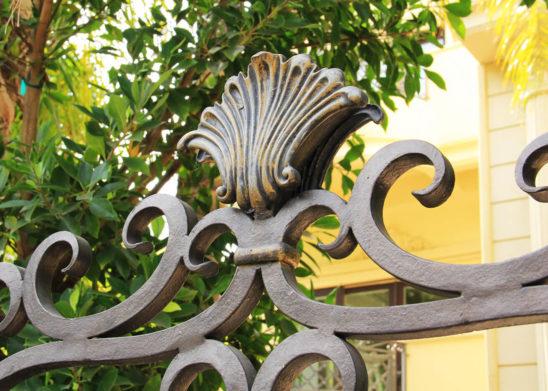 close up of custom finished wrought iron auto gate