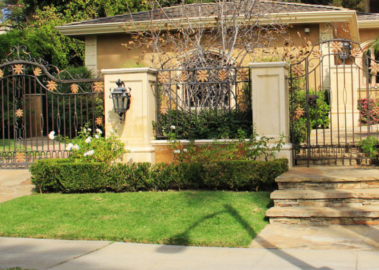 traditional wrought iron single slide auto gate and single fold pedestrian gate with tropical gold flowers and leaves