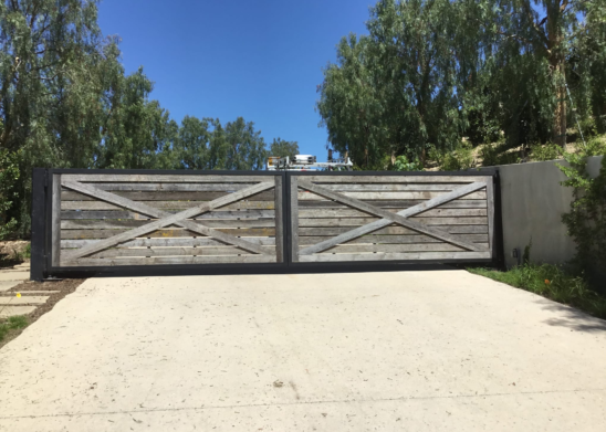 Bi-Fold Gate With Exposed Steel Frame With True Reclaimed Lumber Cladding-Los-Angeles-Orange-County