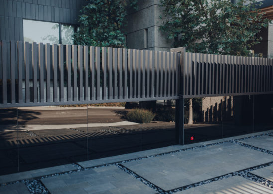 Contemporary Steel and Glass Sliding Gate Los Angeles, Orange County