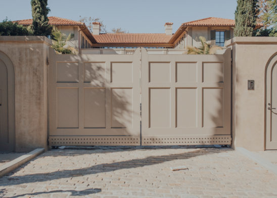 Custom-Dual-Sided-Wooden-Clad-Bi-Parting-Vehicular-Gate-With-Panel-Molding-Detail- Los Angeles, Orange County