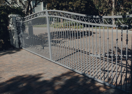 Decorative Wrought Iron Slide Gate With Scroll Work - Los Angeles, Orange County