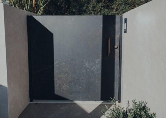 Dual Sided Stone Clad Pedestrian Gate Los Angeles, Orange County