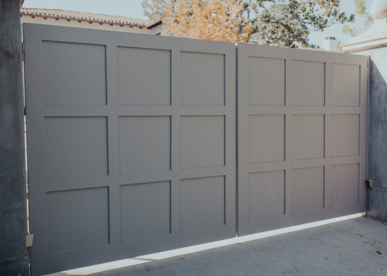 Dual-Sided-Wooden-Clad-Bi-Fold-Gate-With-Recessed-Panels - Los Angeles, Orange County