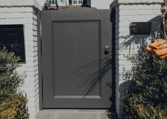 Dual Sided Wooden Clad Paint Grade Pedestrian Gate - Los Angeles, Orange County
