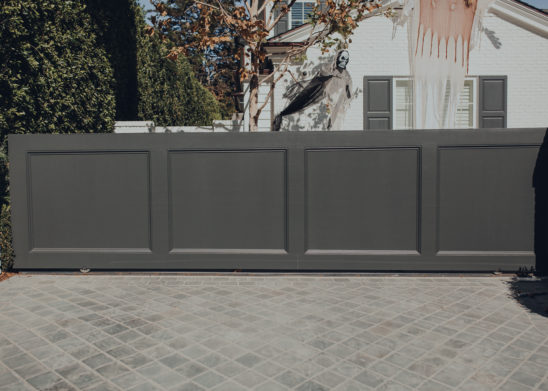 Dual-Sided-Wooden-Clad-Slide-Gate-With-Panel-Mold-Detail Los Angeles, Orange County