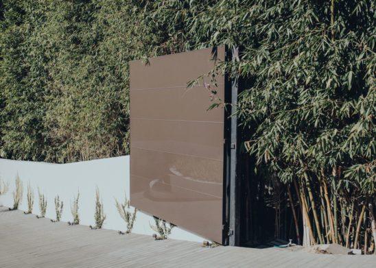 Steel-Framed-Dual-Sided-Glass-Clad-Electrical-Bi-Parting-Gate-Los Angeles Orange County