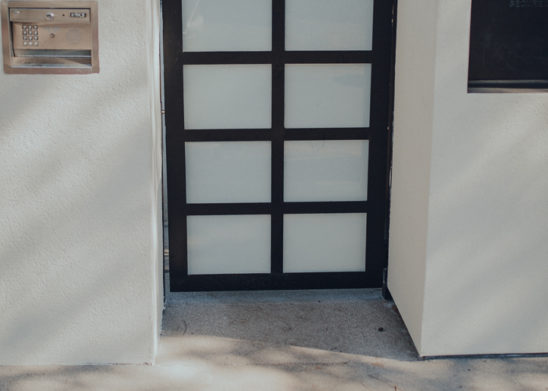 Steel Pedestrian Gate With Inset White Laminated Glass Panels - Los Angeles, Orange County