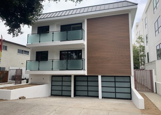 Contemporary Steel & Glass Automated Tri Sliding Gate System